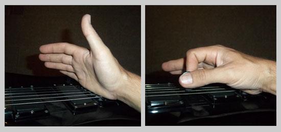Palm mute posición de la mano derecha